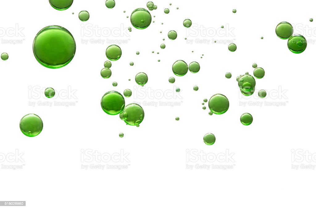 Green air bubbles stock photo