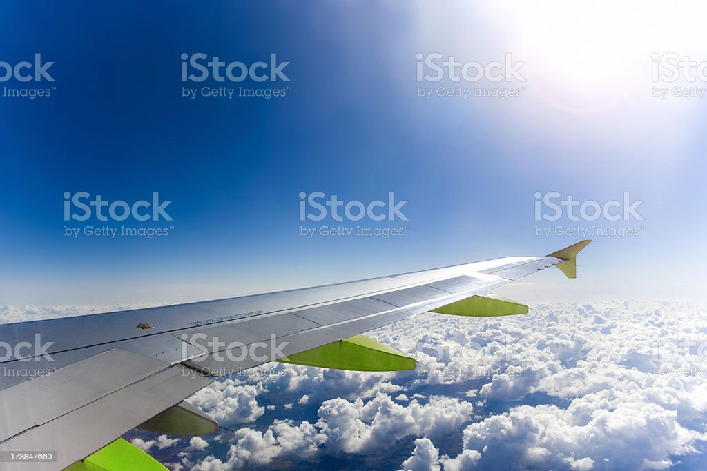 Green Air Travel Areoplane Wing royalty-free stock photo