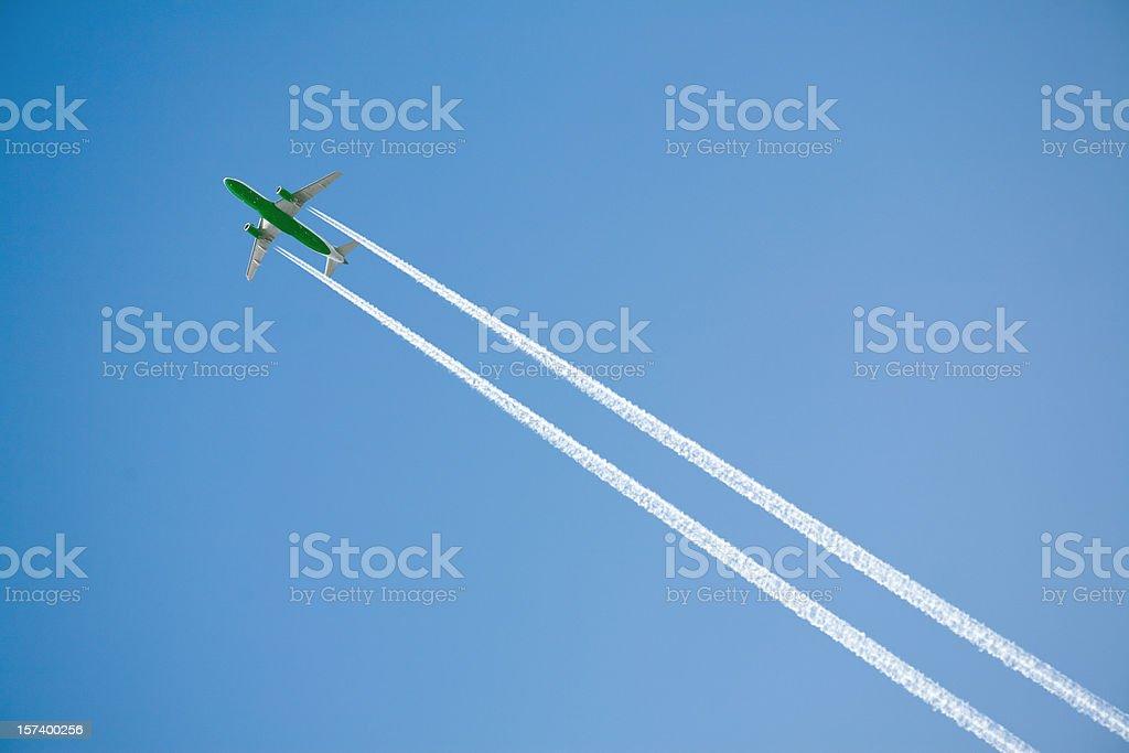 Green airplane royalty-free stock photo