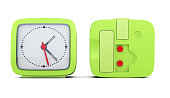 Green alarm clock with the two sides