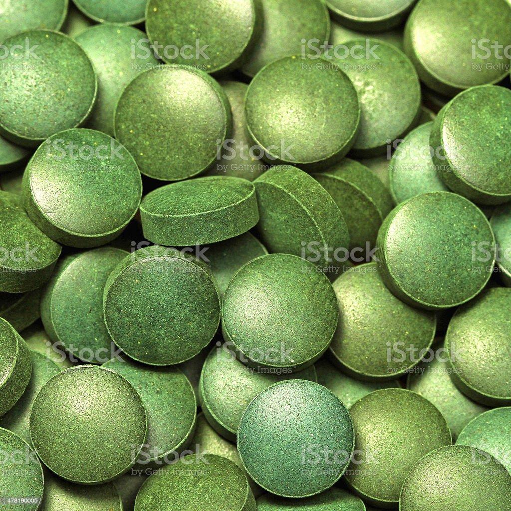Green algae pills royalty-free stock photo