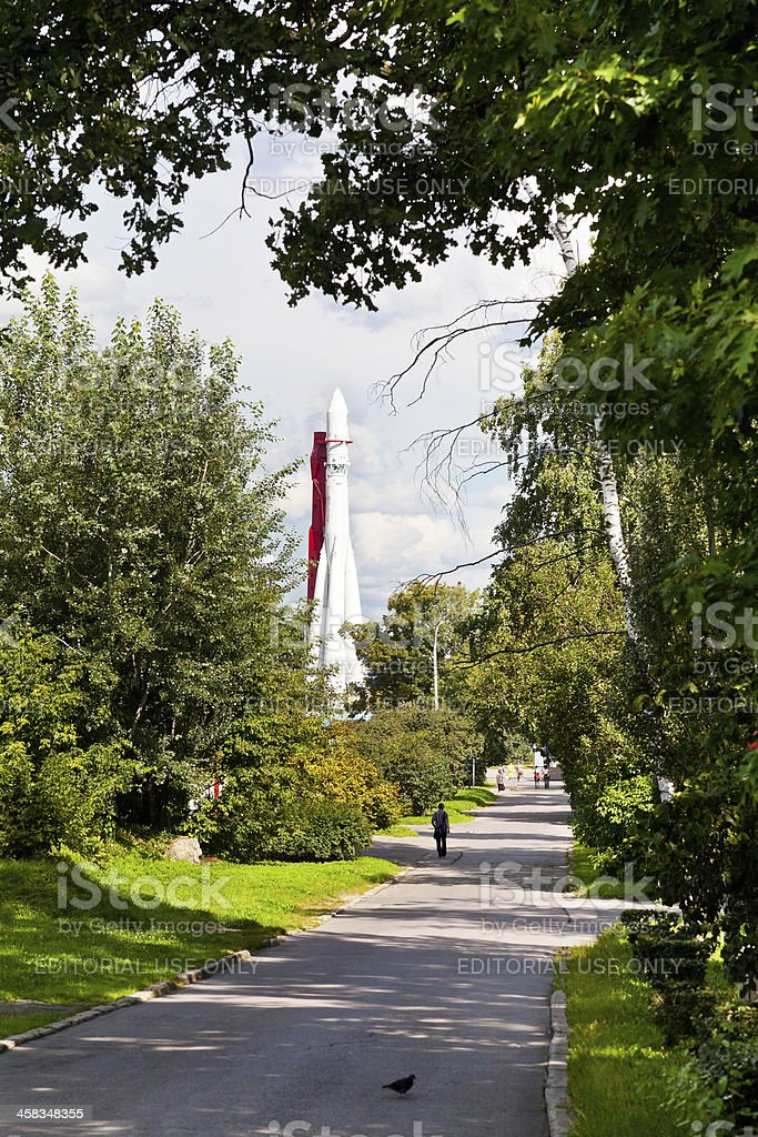 green alley and spacecraft in Moscow stock photo