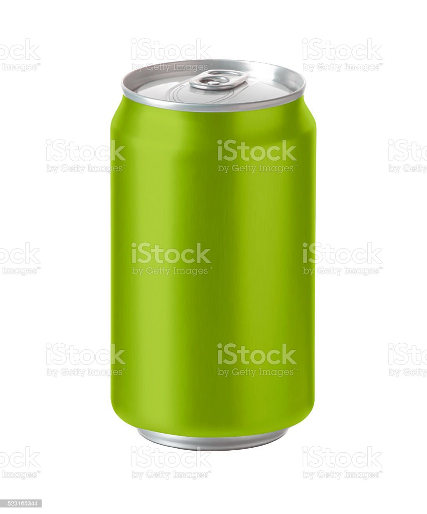 green aluminum can with space for design and clip path stock photo