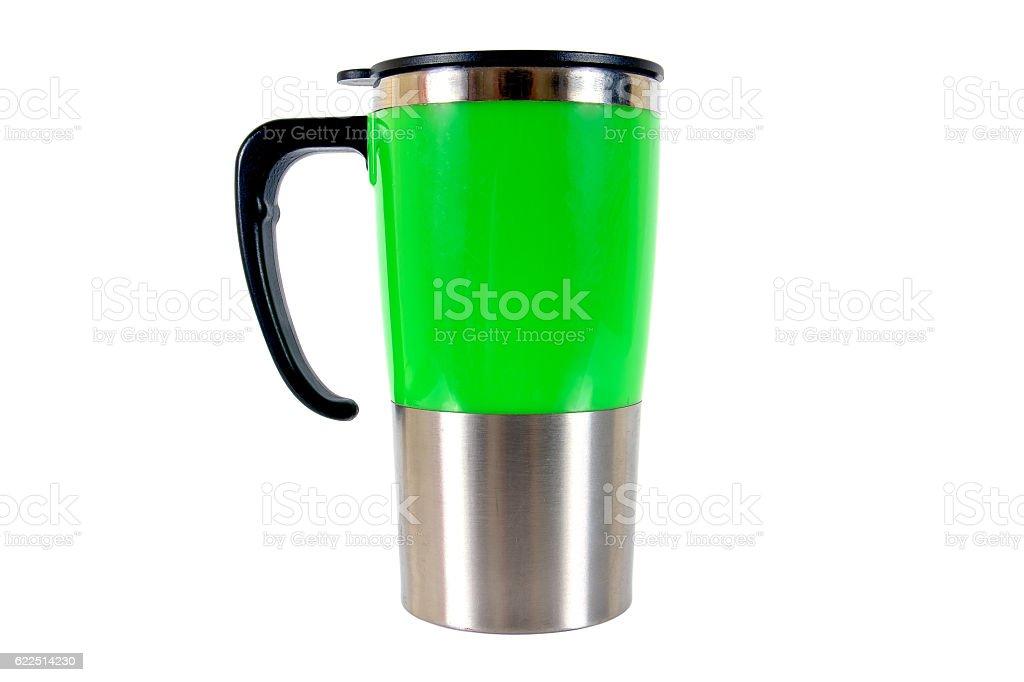 Green aluminum mug isolated on white background stock photo