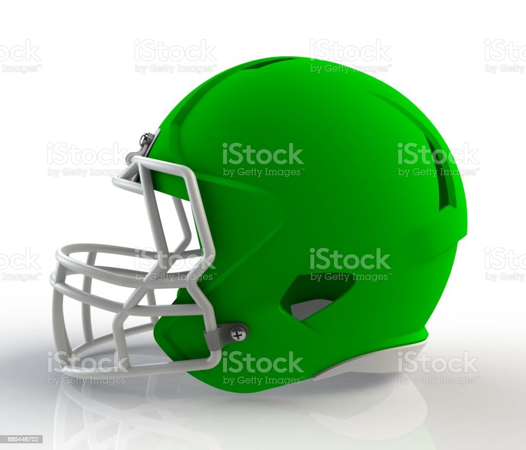 Green american football helmet side view on a white background with detailed clipping path, 3D rendering stock photo