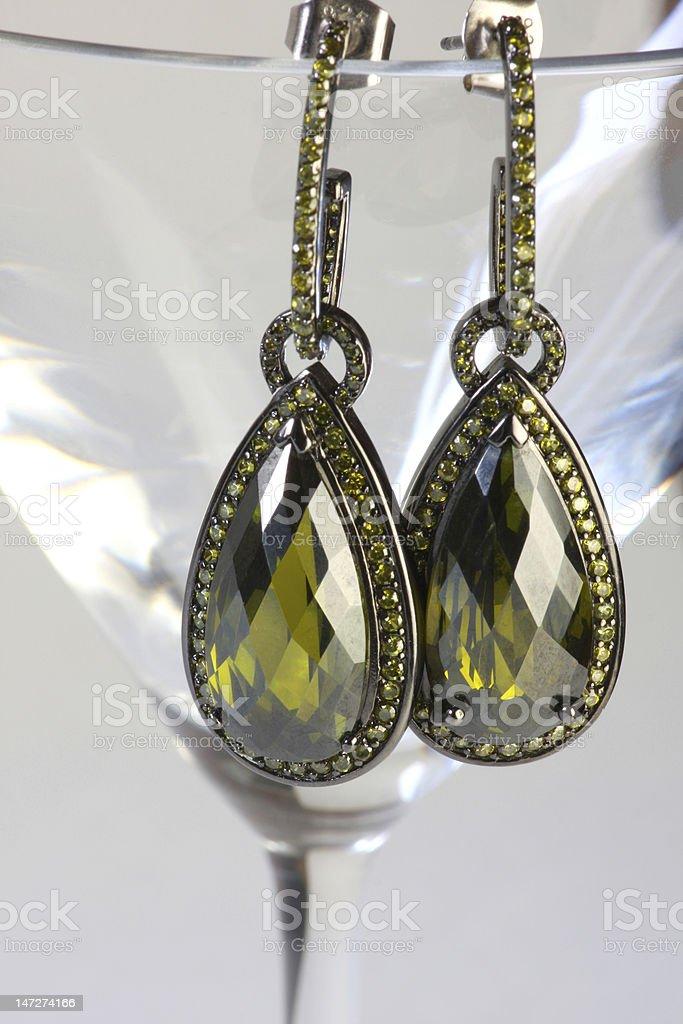 Green amethyst earrings stock photo
