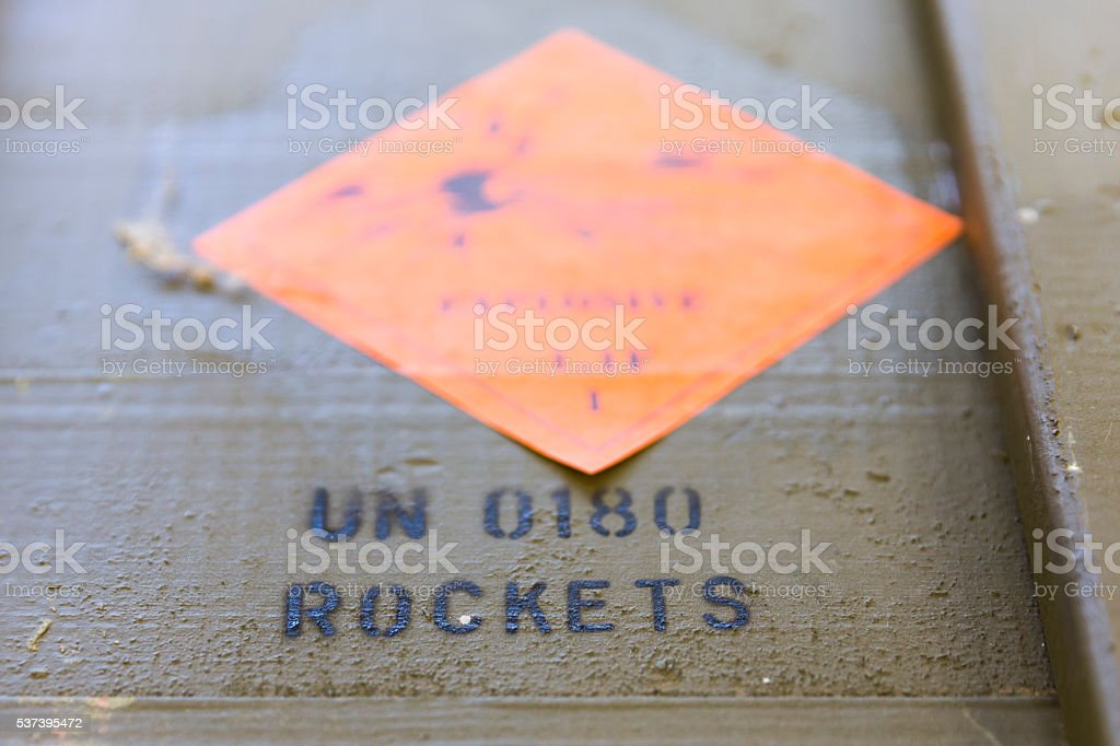 Green ammunition boxes with rocket-propelled grenades (RPG) stock photo