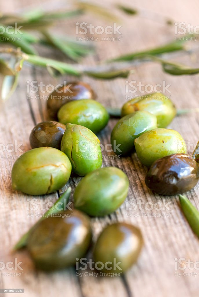 Green and black olives closeup stock photo