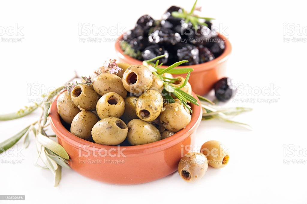green and black olives stock photo