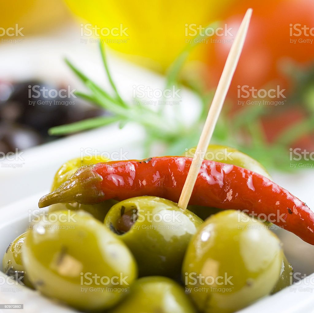 Green and black olives royalty-free stock photo