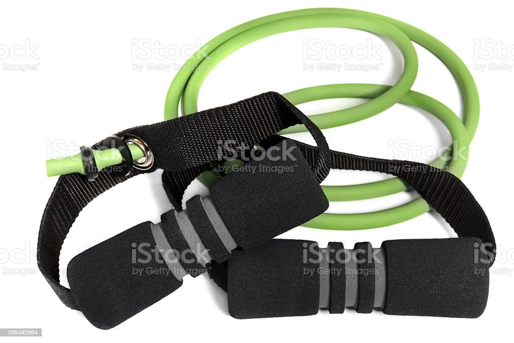 Green and black resistance bands stock photo