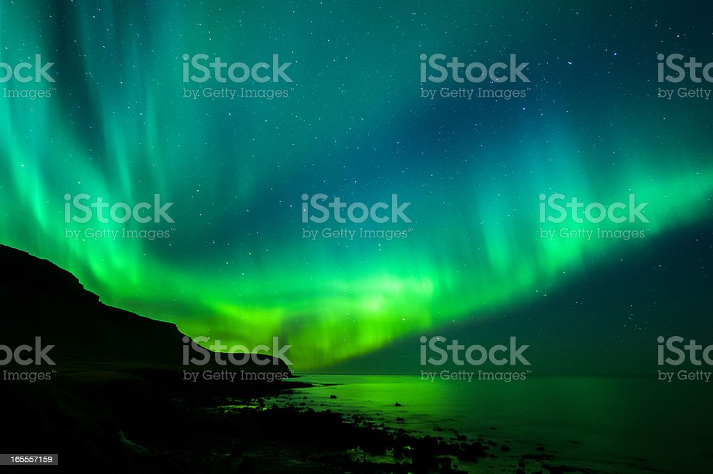 Green and blue Aurora Borealis in Iceland royalty-free stock photo