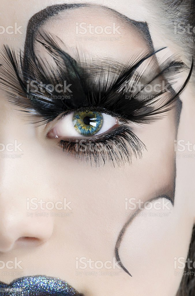 green and blue eye stock photo