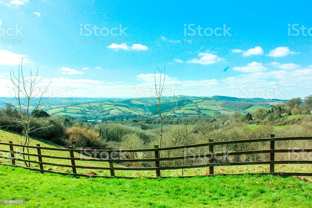 Green and blue field background stock photo