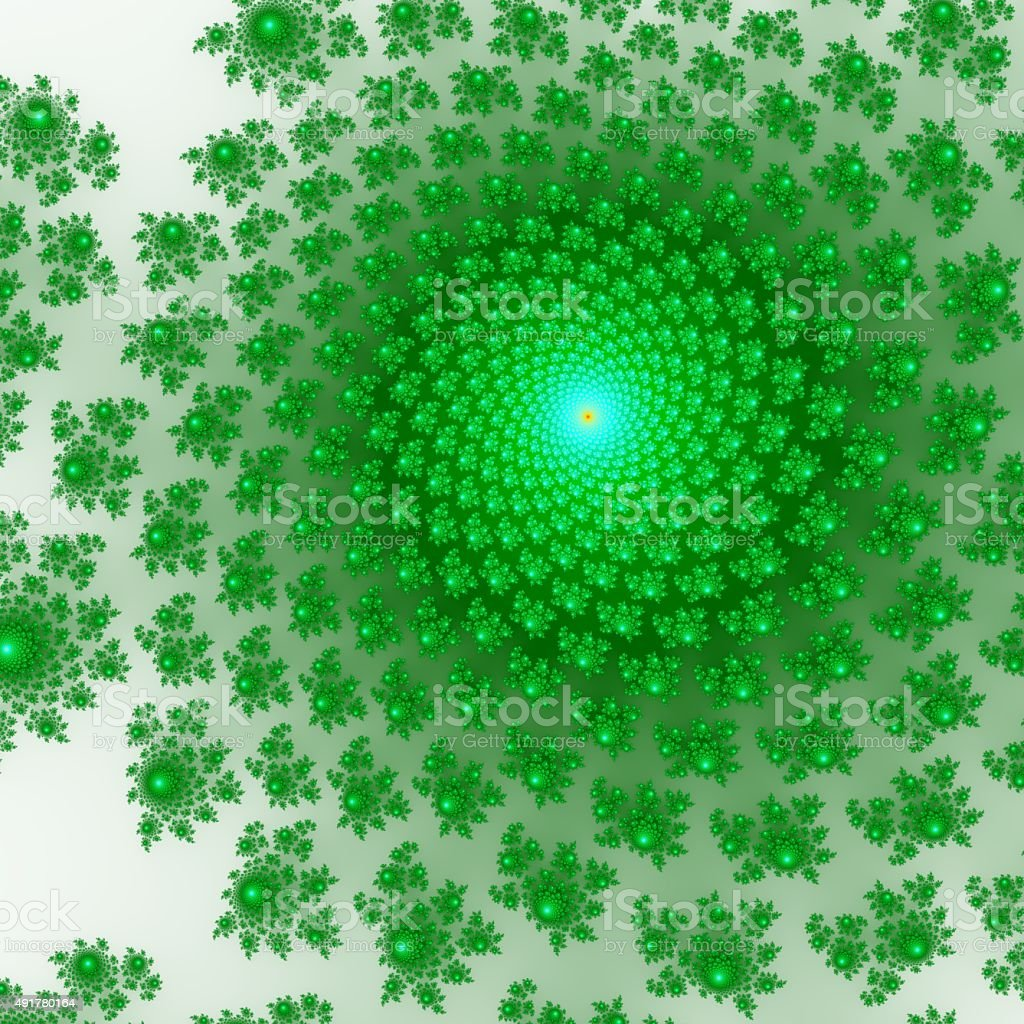 Green and blue fractal ornaments. Computer generated fractal graphics. stock photo
