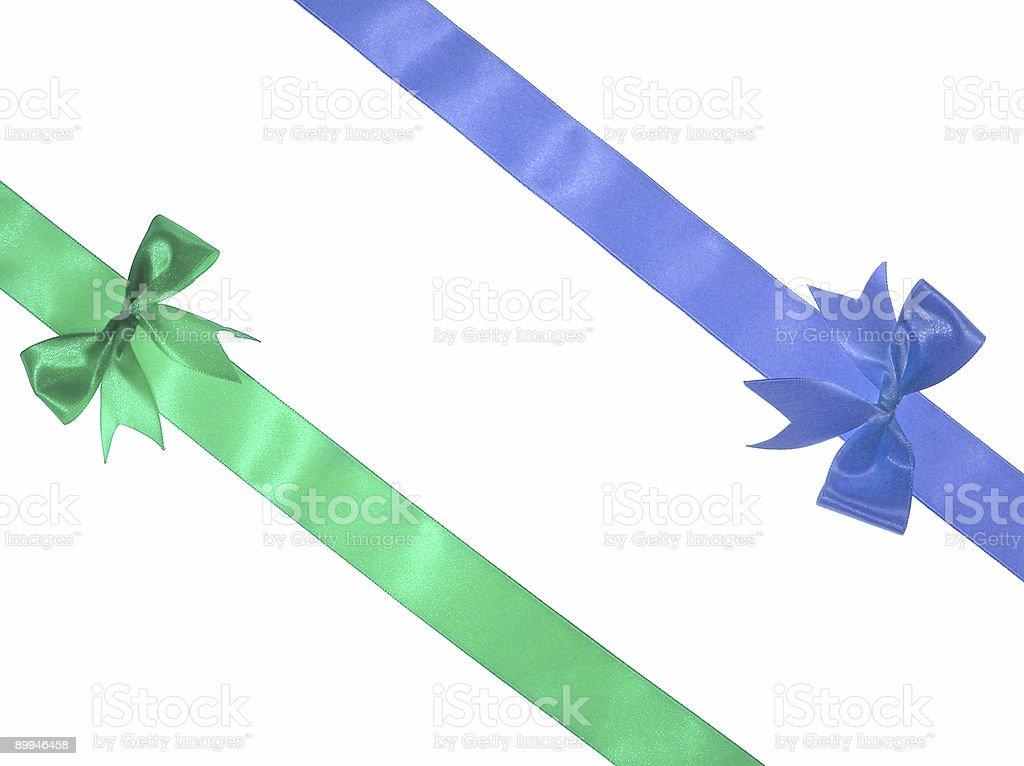 Green and blue ribbons royalty-free stock photo