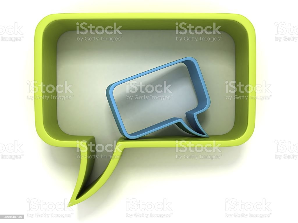 green and blue speech dialogue bubbles on white stock photo