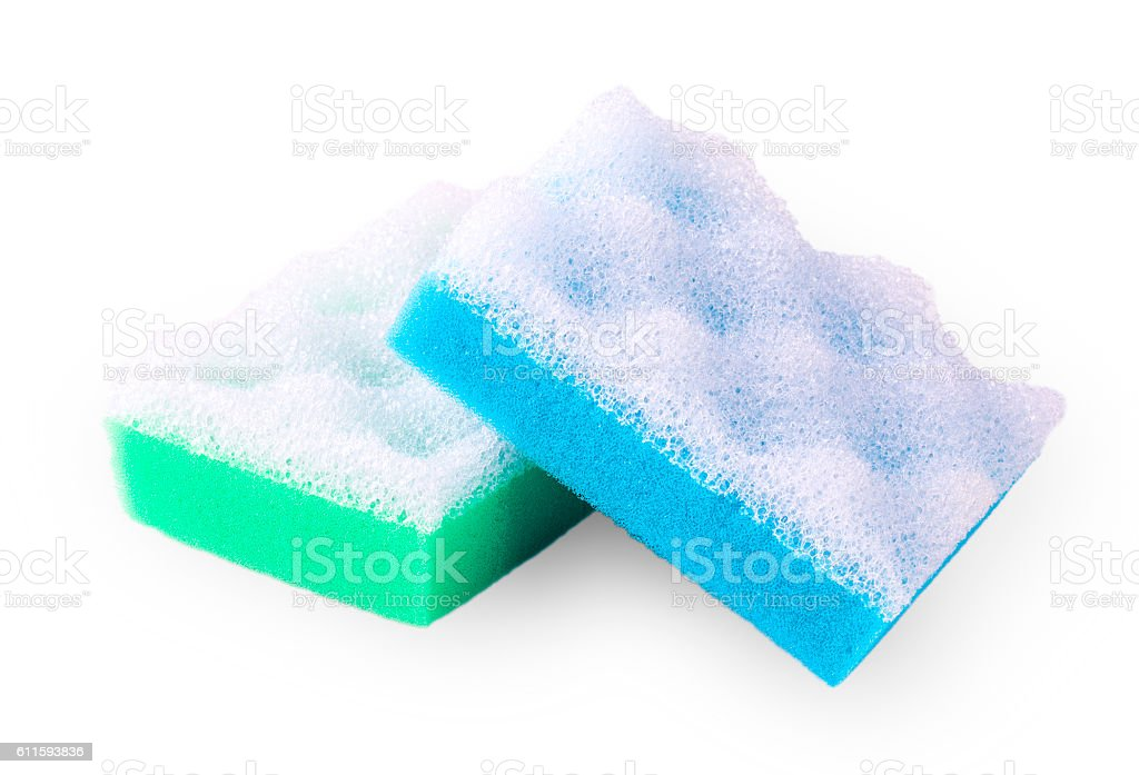 Green and blue squire bath sponge isolated on white stock photo