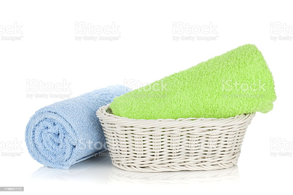 Green and blue towels royalty-free stock photo