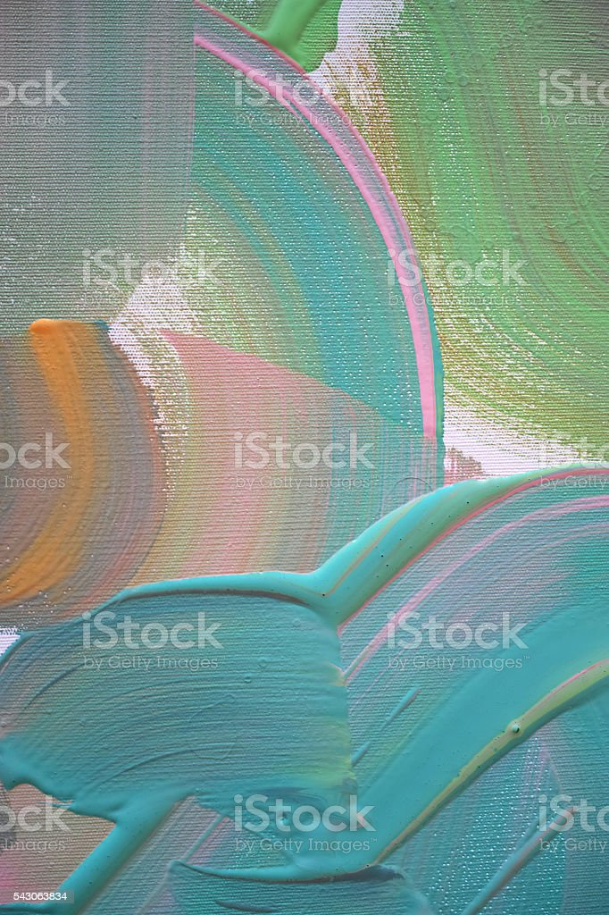 Green And Blue Wet Paints Mixed with Orange and Pink stock photo