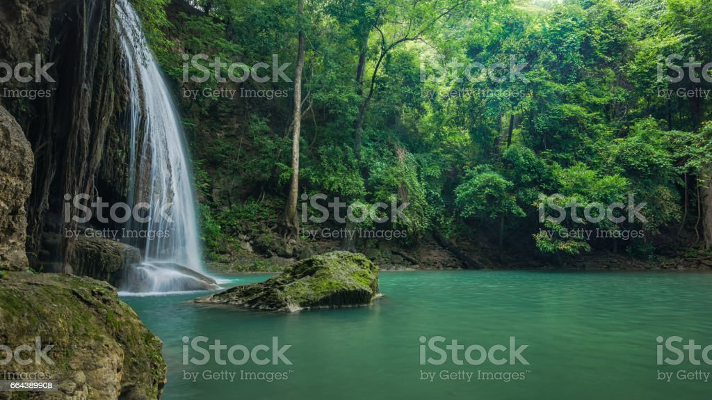 Green and clean waterfall for relaxation stock photo