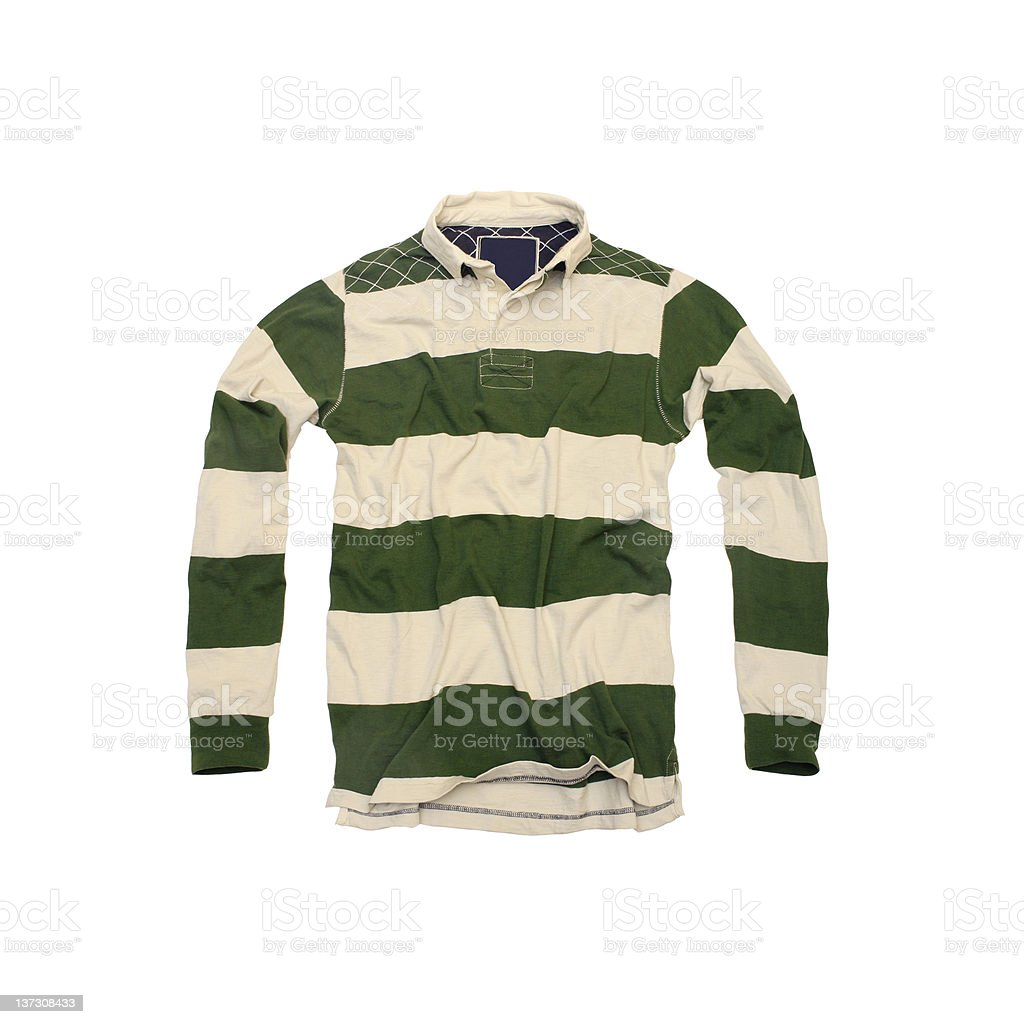 Green and Cream Striped Rugby Shirt on White Background stock photo