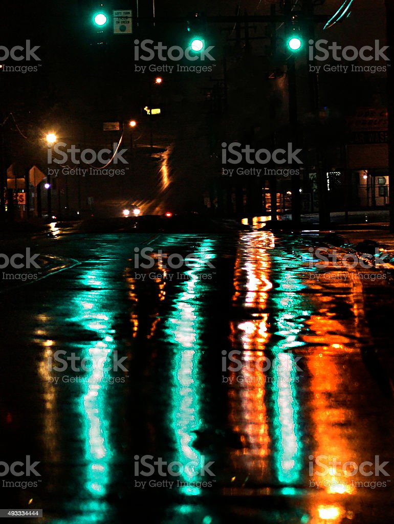 Green and Gold Night City Reflections stock photo