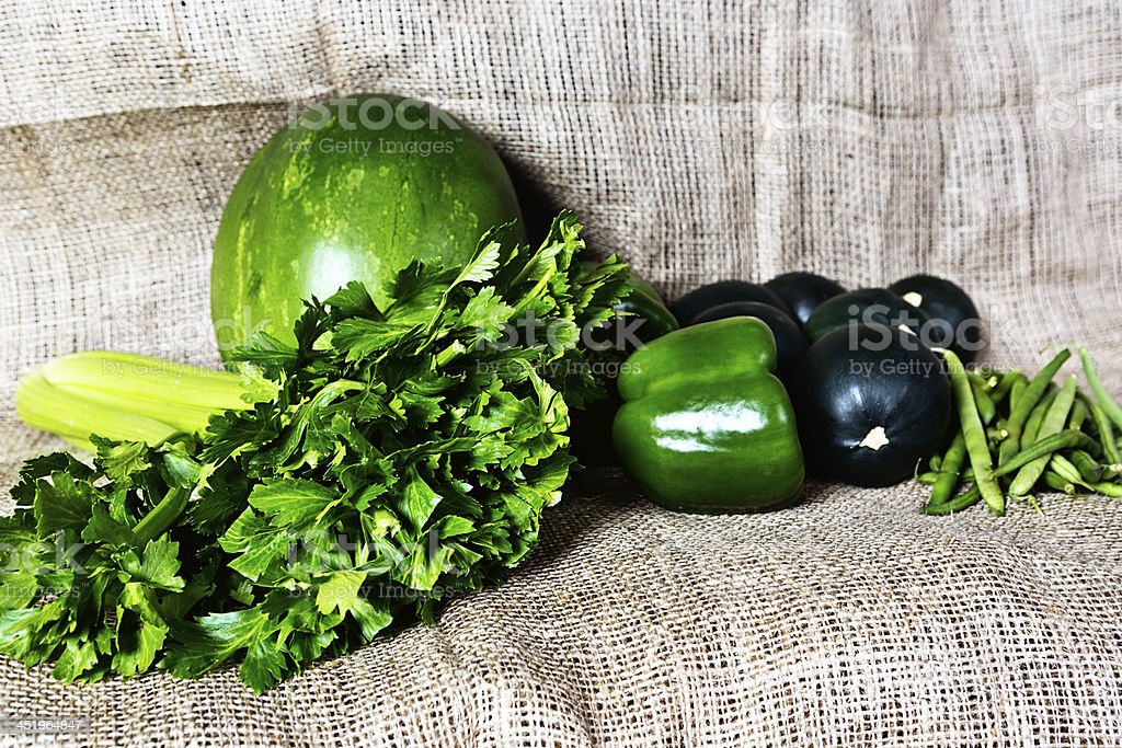 Green and good for you: selection of  fresh produce royalty-free stock photo
