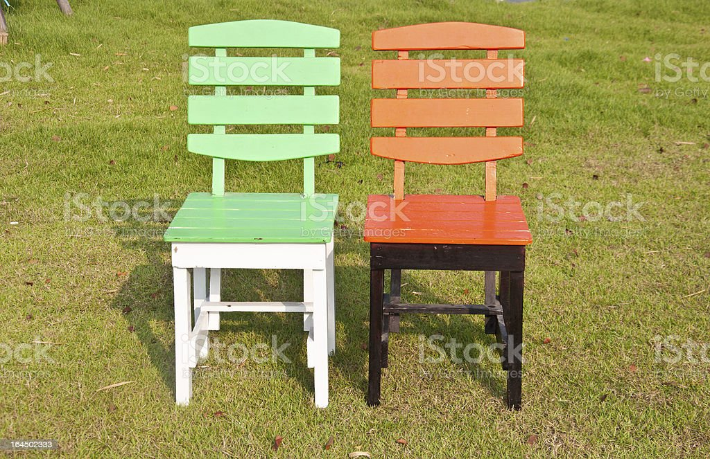 Green and orange chair royalty-free stock photo