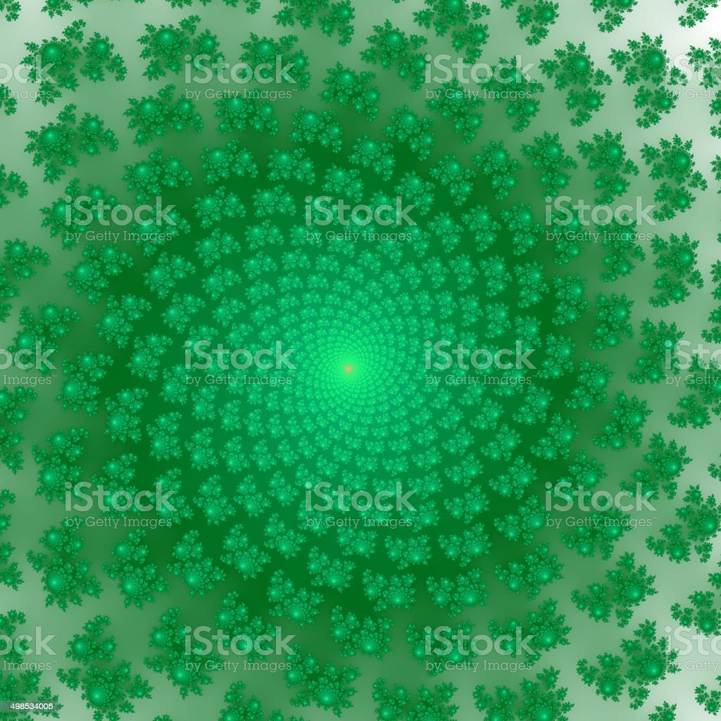Green and orange fractal ornaments in dark green  Generated fractal stock photo