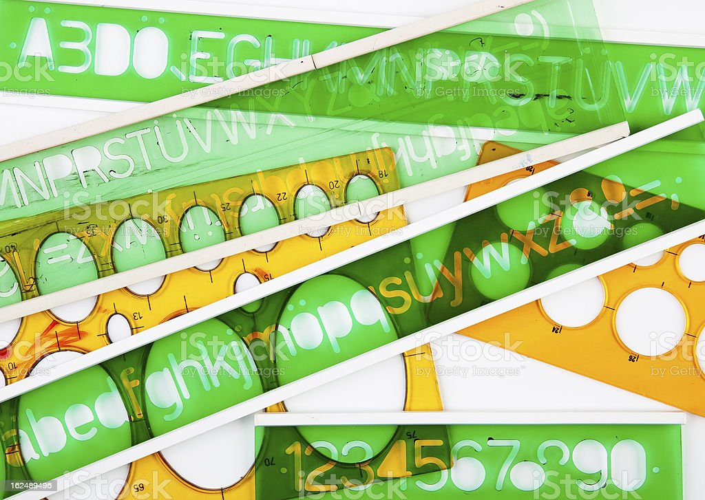 Green and orange stencils royalty-free stock photo