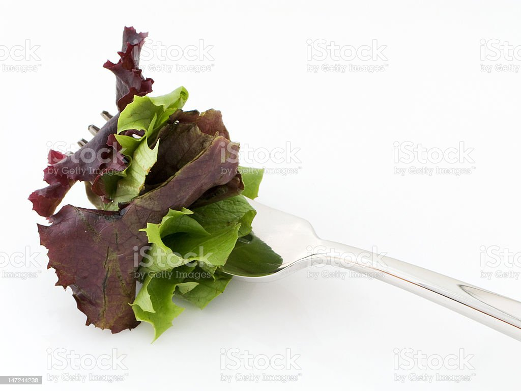 Green and purple baby leaf salad on a fork royalty-free stock photo