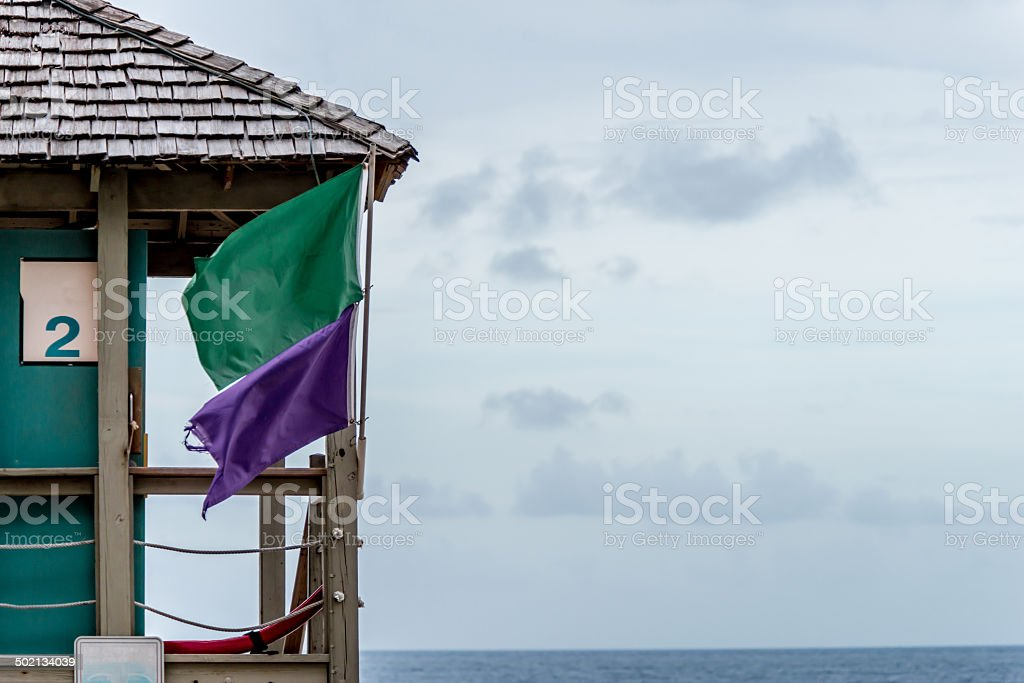 Green and Purple Flag stock photo