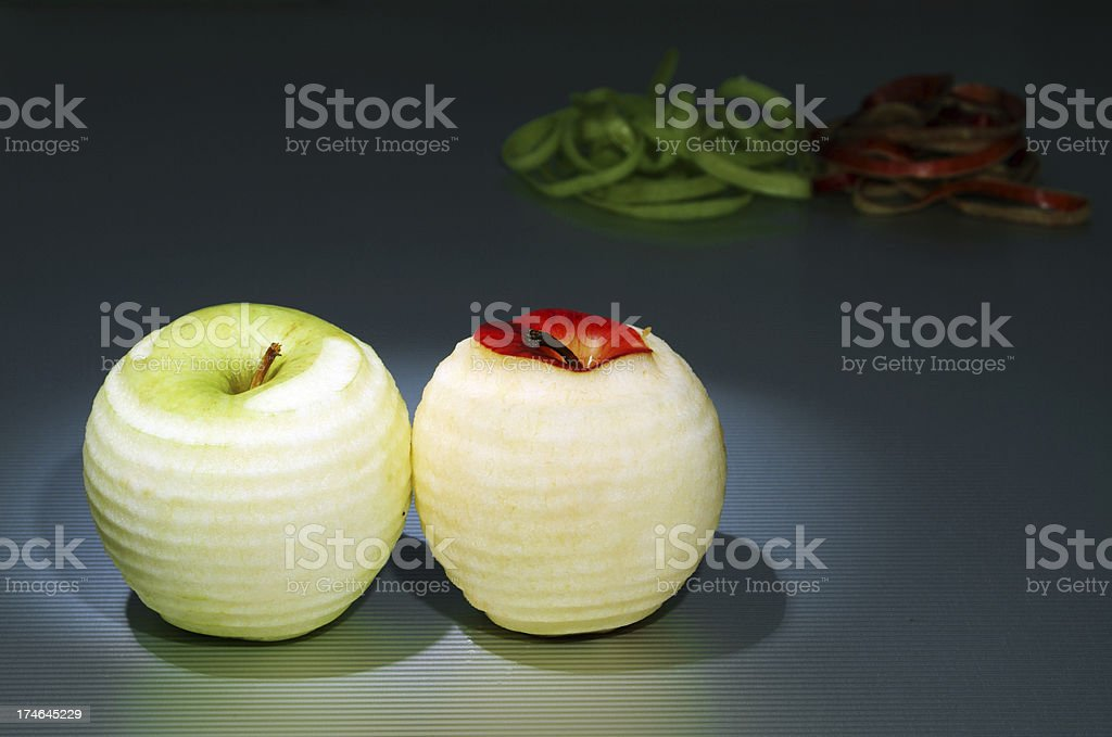Green and Red Apple peeled stock photo