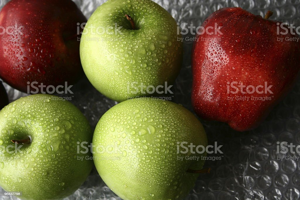 Green and red apple stock photo