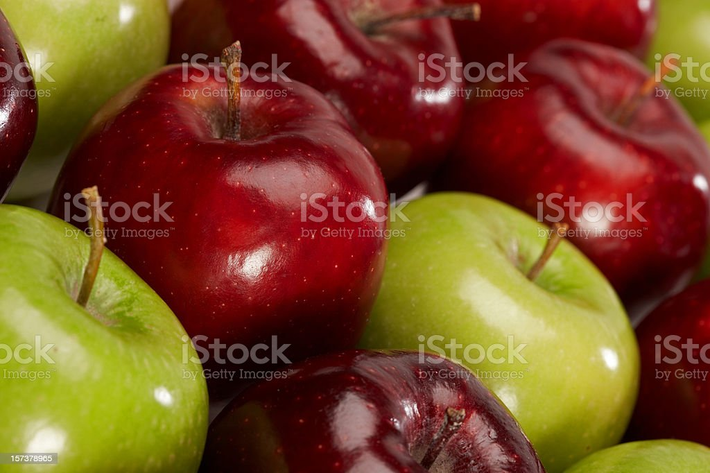 Green and red apples high angle stock photo