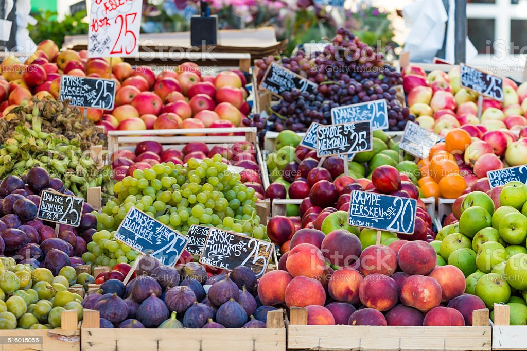 Green and red apples in local market in Copenhagen,Denmark. stock photo