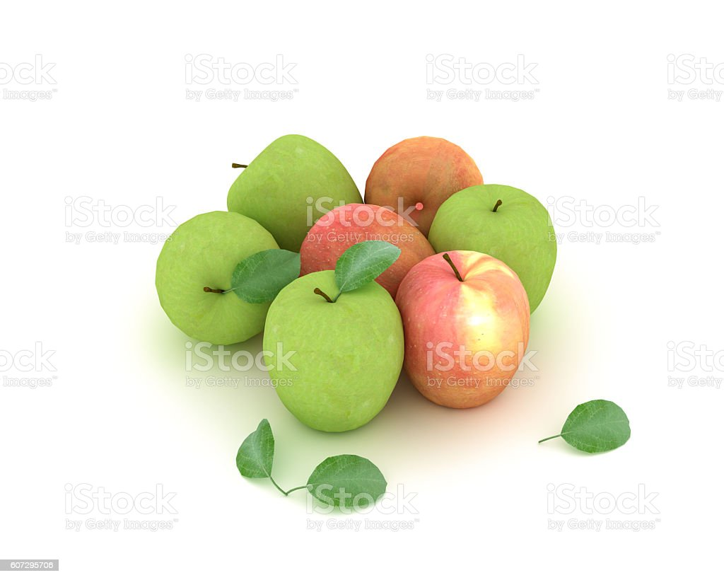 Green And Red Apples Isolated On White Background stock photo