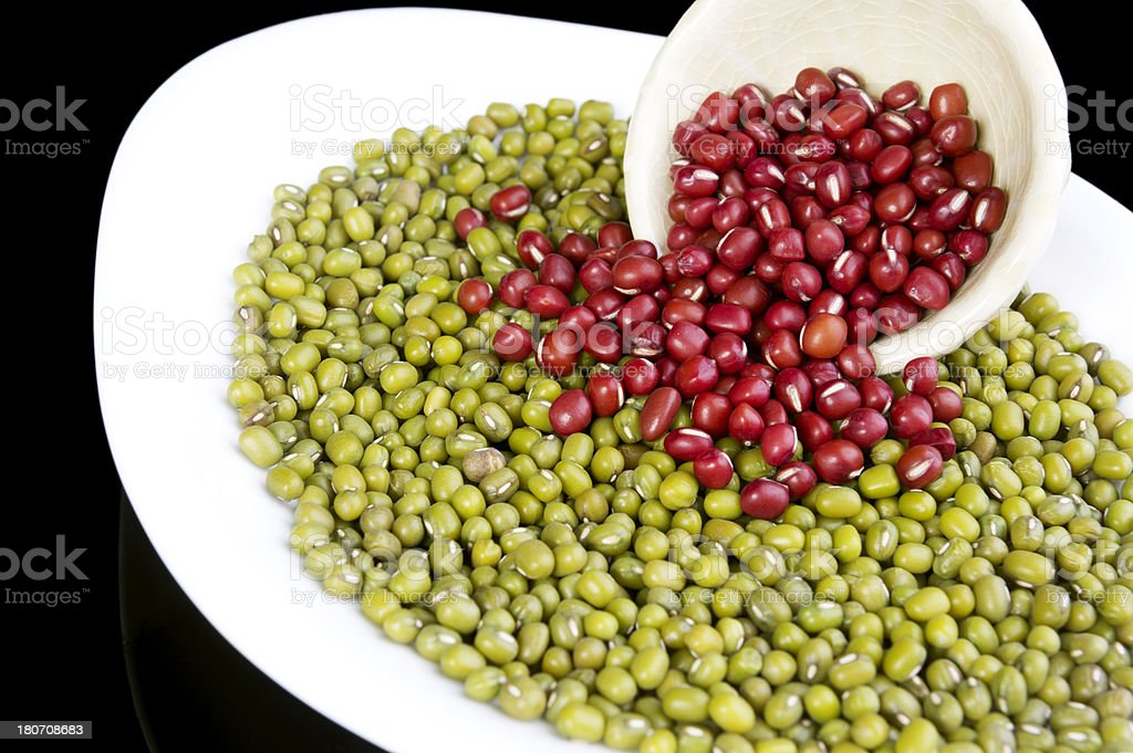 Green and Red Beans in a Plate royalty-free stock photo