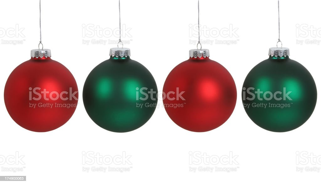 Green and Red Christmas Balls Lined Up Isolated on White royalty-free stock photo