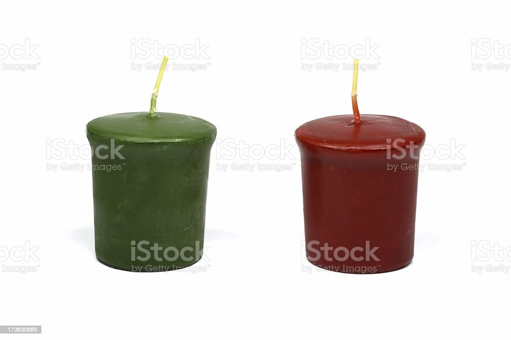 Green and Red Christmas Votive Candles royalty-free stock photo