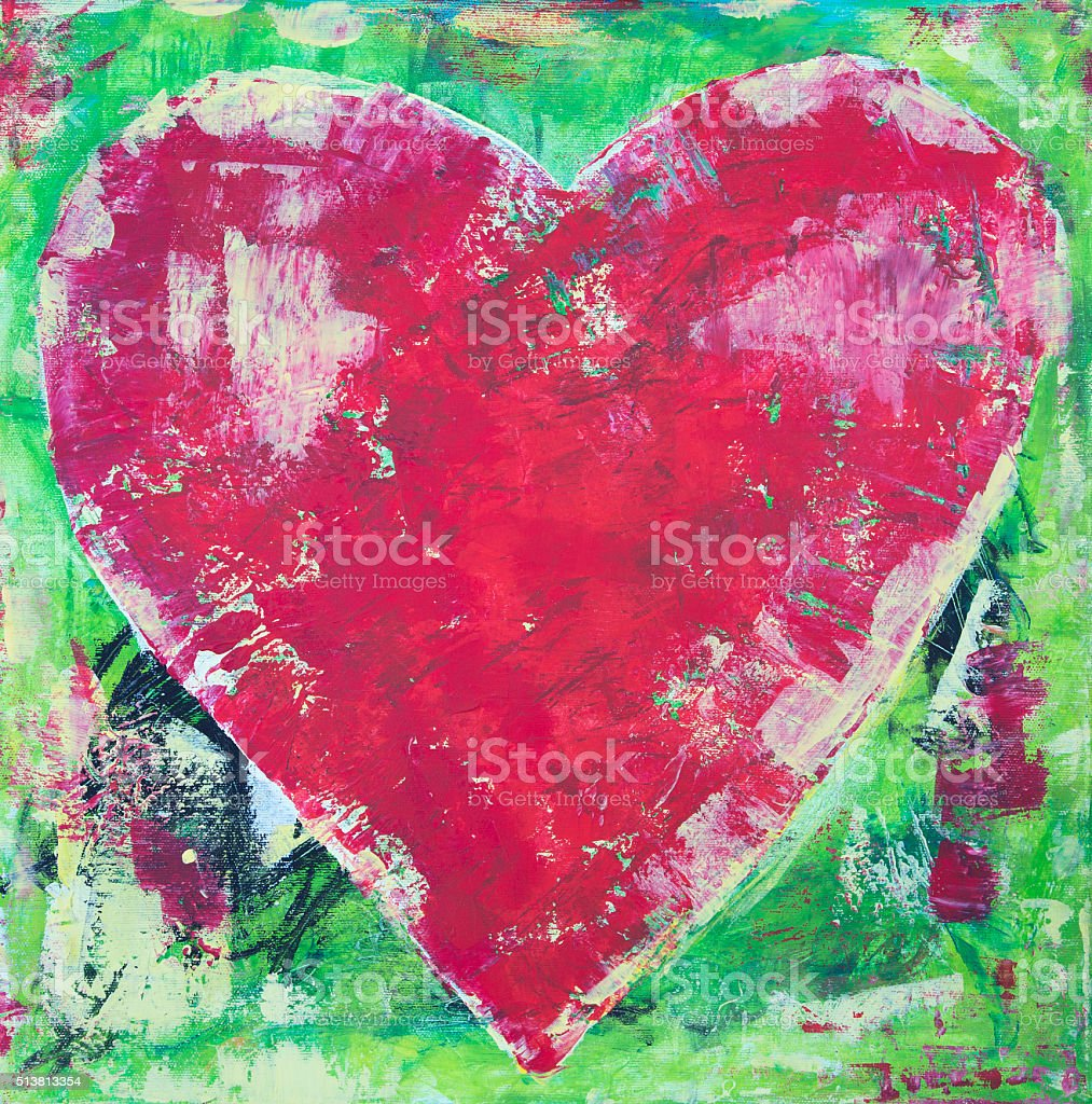 Green and red grunge acrylic heart painting stock photo