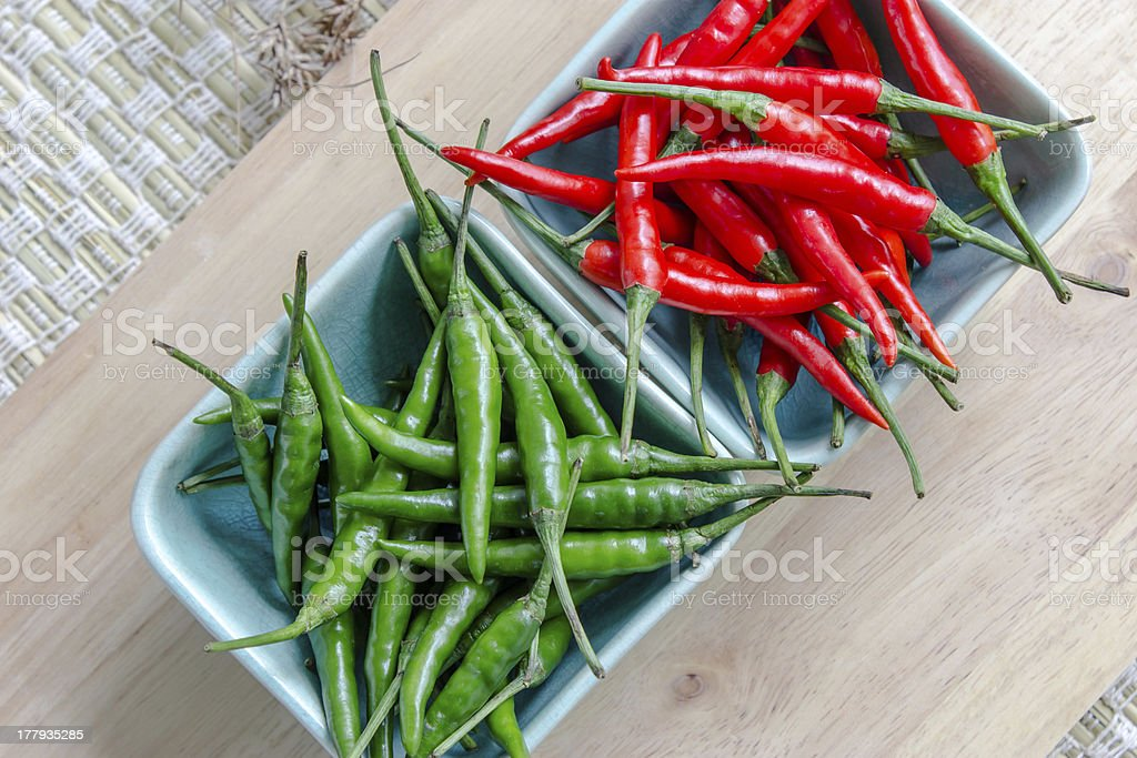 Green and red pepper isolated royalty-free stock photo