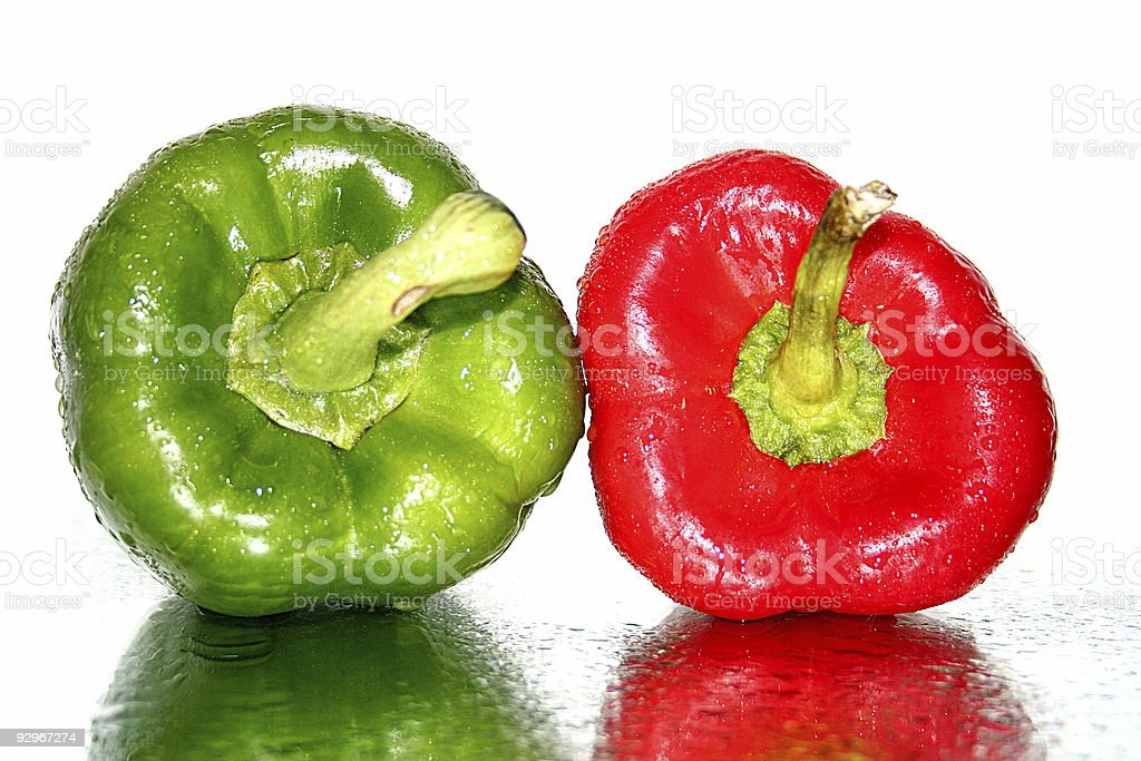 green and red pepper stock photo