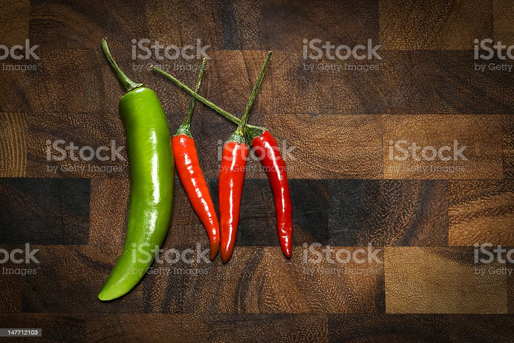Green and Red Peppers royalty-free stock photo