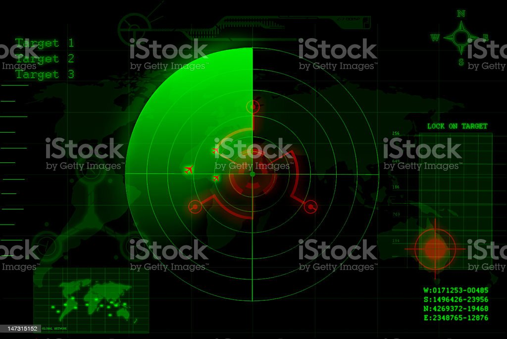 A green and red radar with Target 1, 2 & 3 stock photo