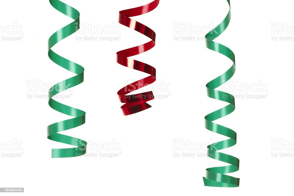Green and red streamers royalty-free stock photo