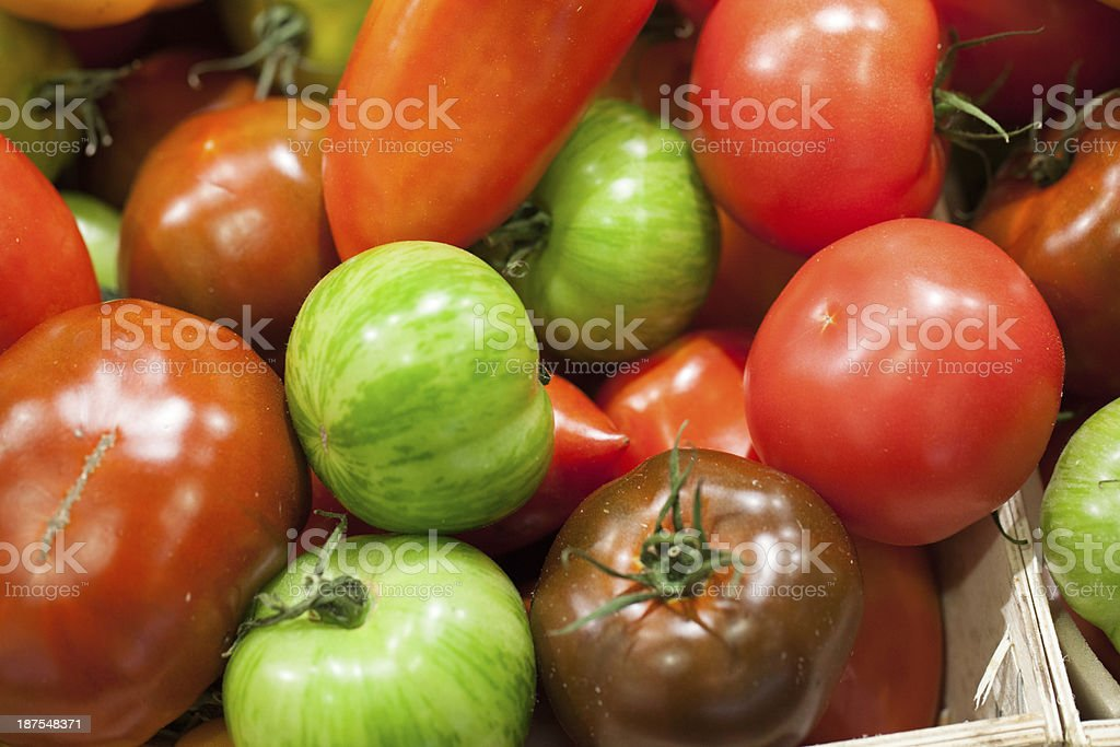 green and red varieties of tomatoes royalty-free stock photo