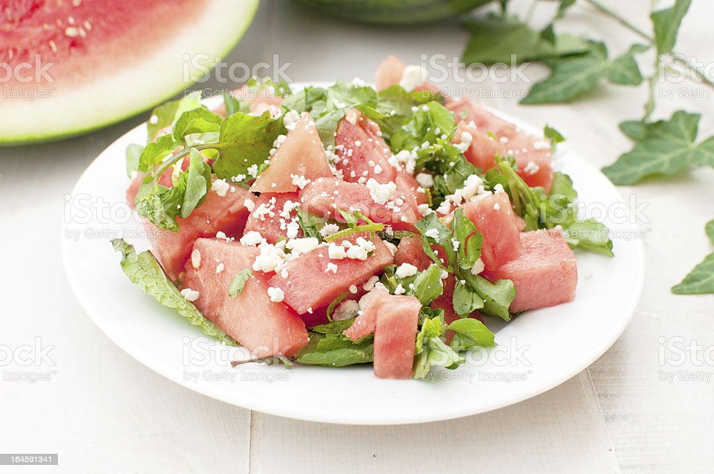 Green and red watermelon bright salad stock photo