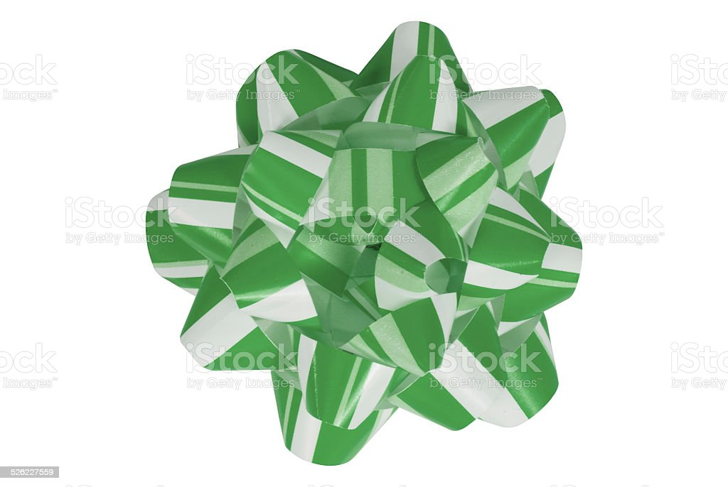 Green and White Christmas Bow stock photo
